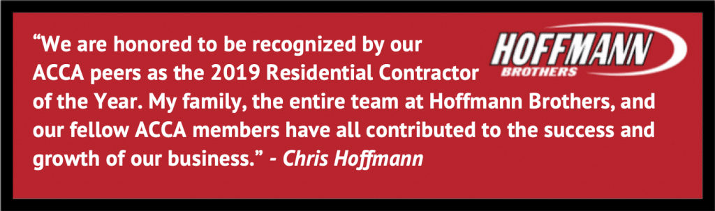 Hoffmann Brothers - Best Home Contractors Award from ACCA