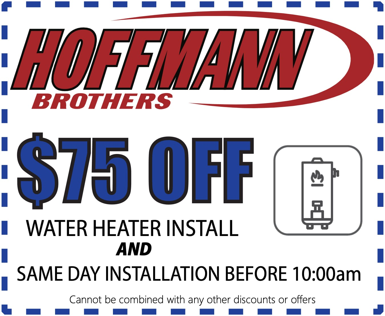 $75 off any water heater install coupon